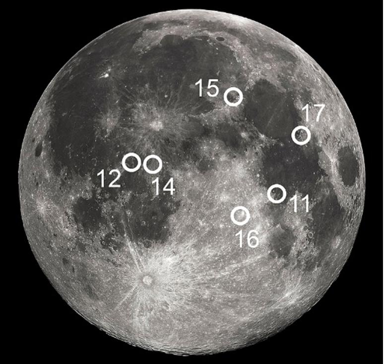 Các vị trí đổ bộ trên Mặt trăng của chương trình Apollo giai đoạn 1969 -1972. Ảnh: Wikipedia