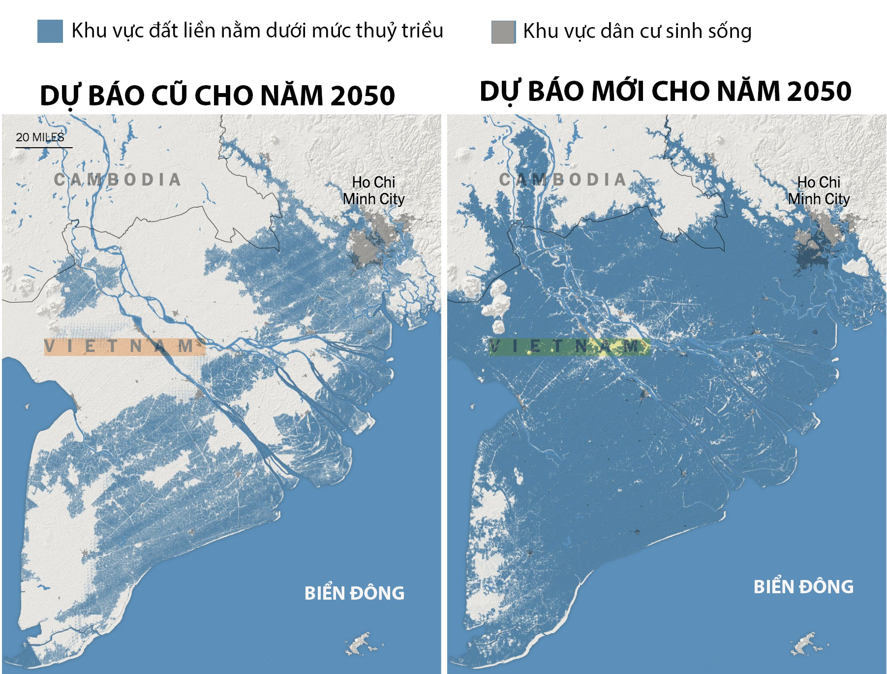 Bản đồ ngập lụt của miền Nam Việt Nam vào năm 2050. Ảnh: New York Times.