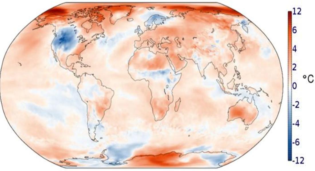 Nhiệt độ tháng 10/2019 so với mức trung bình trong giai đoạn 1981 – 2010. Ảnh: Copernicus.