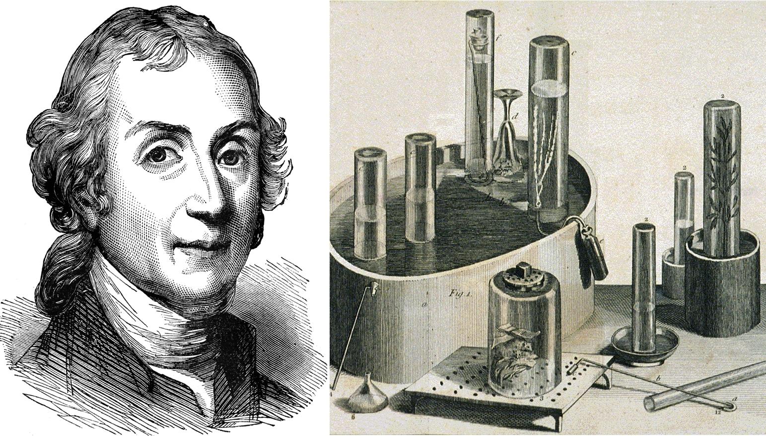 Joseph Priestley và các thiết bị ông thường sử dụng trong các thí nghiệm nghiên cứu về khí. Ảnh: Alamy.