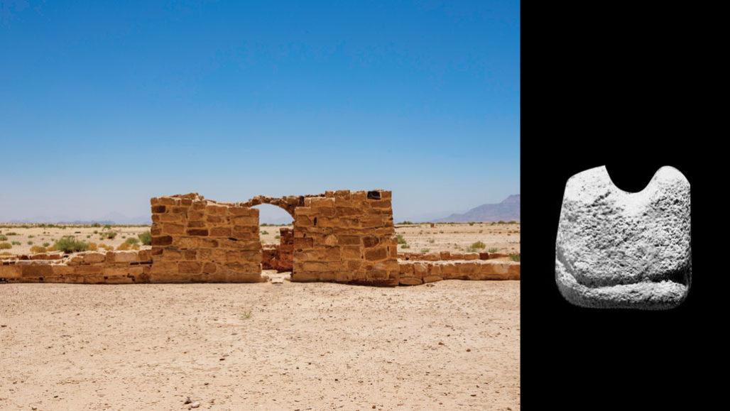 Quân cờ vua (bên phải) được khai quật ở khu khảo cổ Humayma (bên trái). Ảnh: Science News.