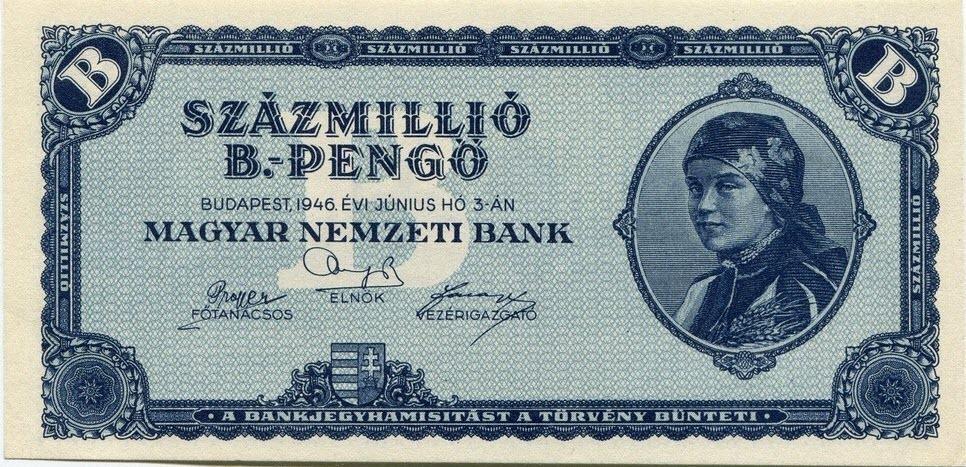 Tờ bạc 100 triệu bpengő được phát hành trong đợt siêu lạm phát năm 1946. Ảnh: Wikimedia.