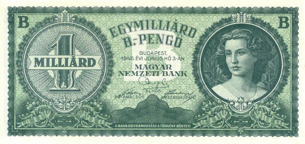 Tờ bạc 1 tỷ bpengő đã được in ra nhưng chưa kịp đưa vào lưu hành. Ảnh: Wikimedia.