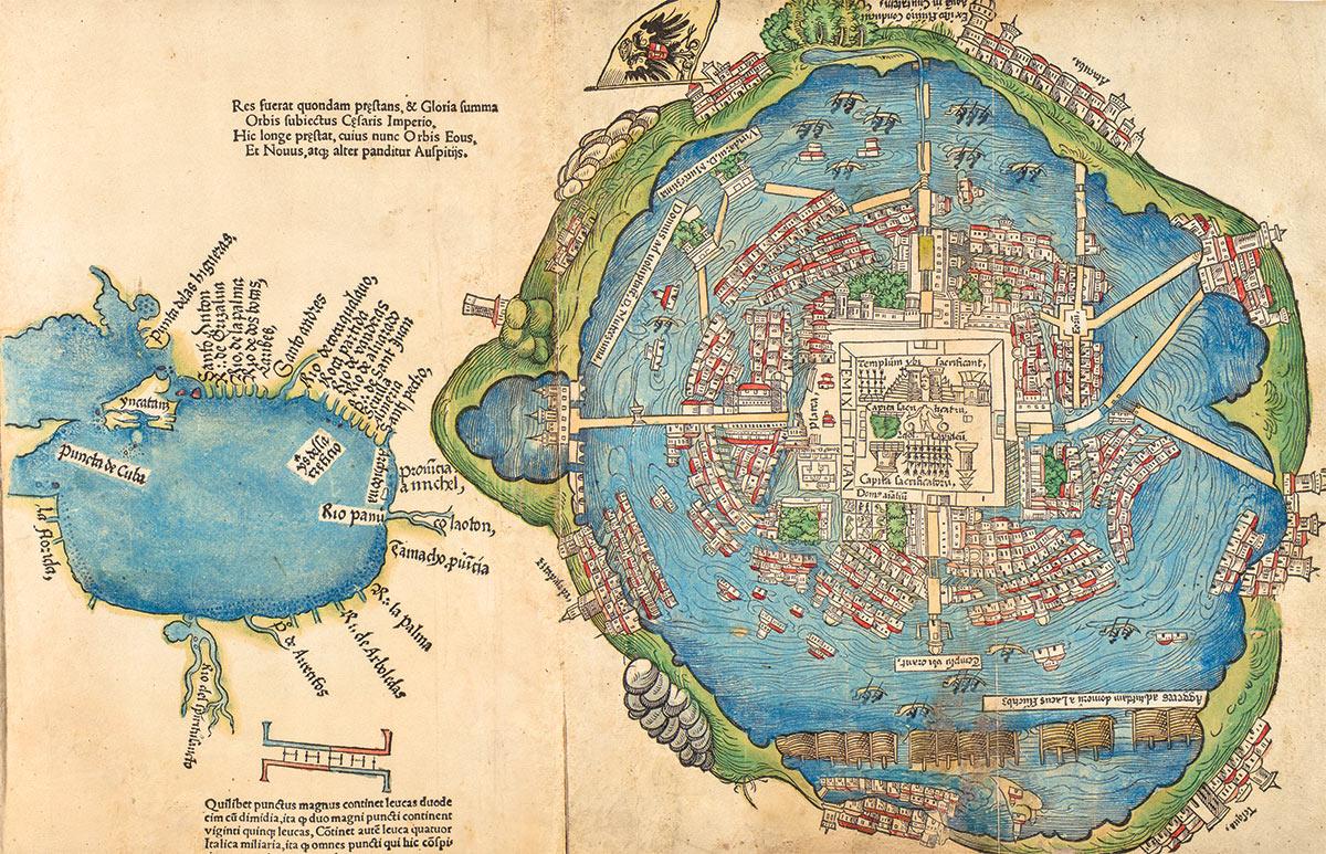 Bản đồ đầu tiên của người châu Âu về kinh thành Tenochtitlan, nay là thành phố Mexico, được khắc in tại thành phố Nuremberg năm 1524. Được cho là được vẽ lại từ một bản đồ cổ của người Aztec, bản đồ minh họa hệ thống đền đài, cung điện, cùng kênh rạch và đê thủy lợi của Tenochtitlan. Ước tính thành phố khi đó có đến 200.000 cư dân. Nguồn ảnh: History Today.