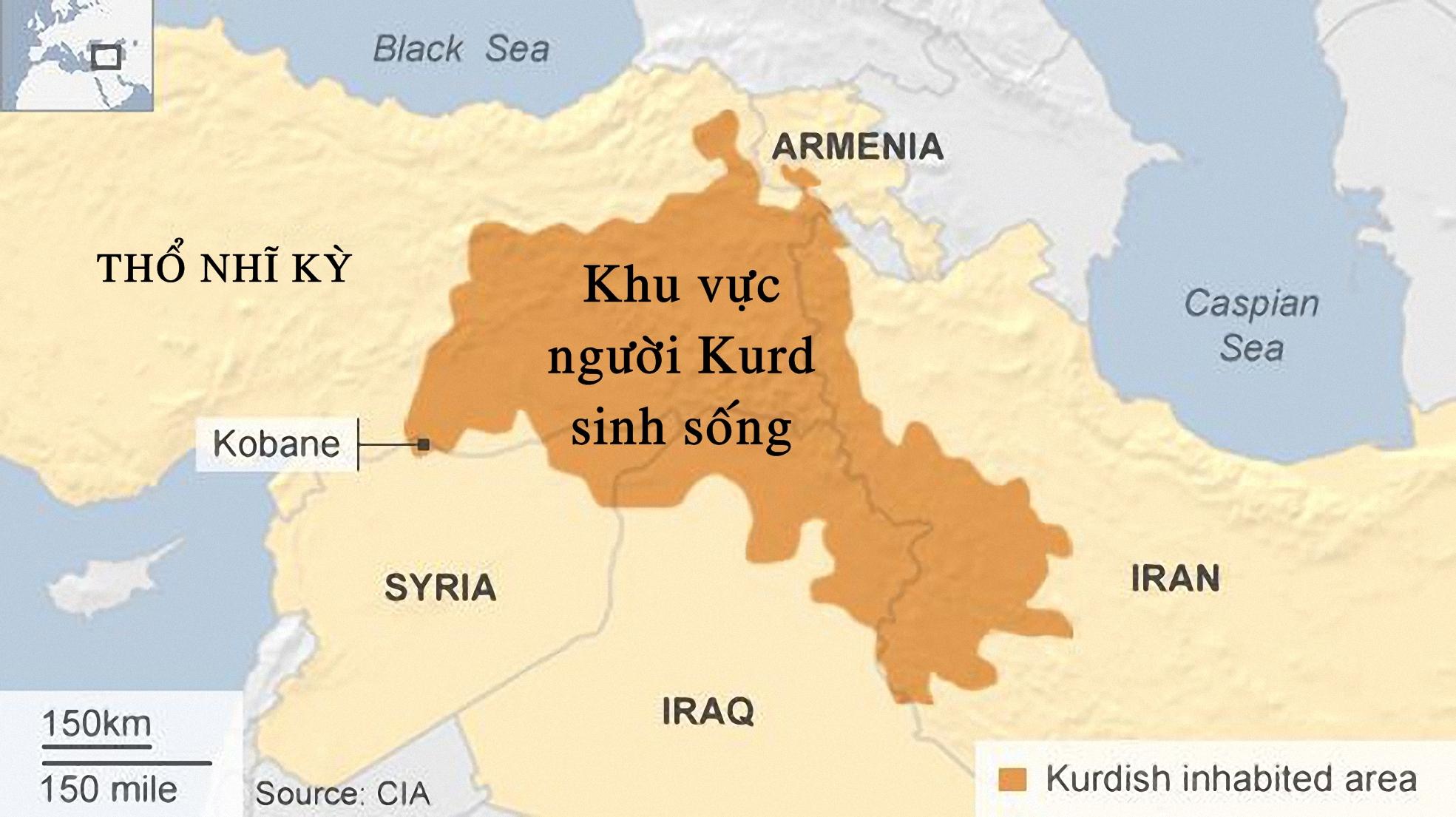 Bản đồ khu vực người Kurd sinh sống, trong đó phần lớn nằm ở Thổ Nhĩ Kỳ. Ảnh: CIA.