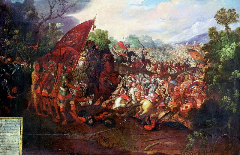 Tưởng tượng của họa sĩ về cuộc tháo chạy của đoàn quân Hernán Cortés khỏi Tenochtitlán, kinh thành của Đế chế Aztec năm 1520. Các conquistador người Tây Ban Nha đặt chân lên Mexico ngày nay lần đầu năm 1519, để dẫn đầu một cuộc xâm lược vào miền đất này. Dù lực lượng Tây Ban Nha chỉ có 500 lính, họ dã thành công trong việc bắt được Hoàng đế của Azztec là Montezuma II. Thành phố sau đó nổi dậy chống quân xâm lược, buộc Cortés và lính của ông phải tháo chạy. Nguồn : NPR/ Ann Ronan Pictures