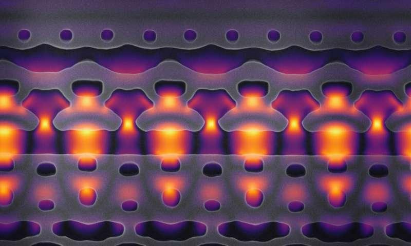 Cấu tạo thiết bị gia tốc trên một vi chip của Đại học Stanford (kích thước phóng to 25.000 lần). Ảnh: Stanford University.