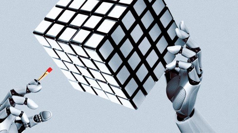 """Robot đang tự dạy mình cách quan sát và """"cảm nhận"""" thế giới vật chất. Trong ảnh là cánh tay Dactyl học cách xoay khối đồ chơi."""