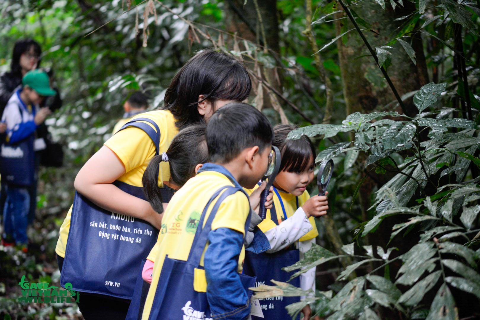 """Các em nhỏ đang khám phá thiên nhiên trong vườn thực vật tại Vườn Quốc gia Cúc Phương, hoạt động này thuộc dự án """"Trao Bé Hạt Mầm"""" do Save Vietnam's Wildlife tổ chức. Ảnh: Save Vietnam's Wildlife."""