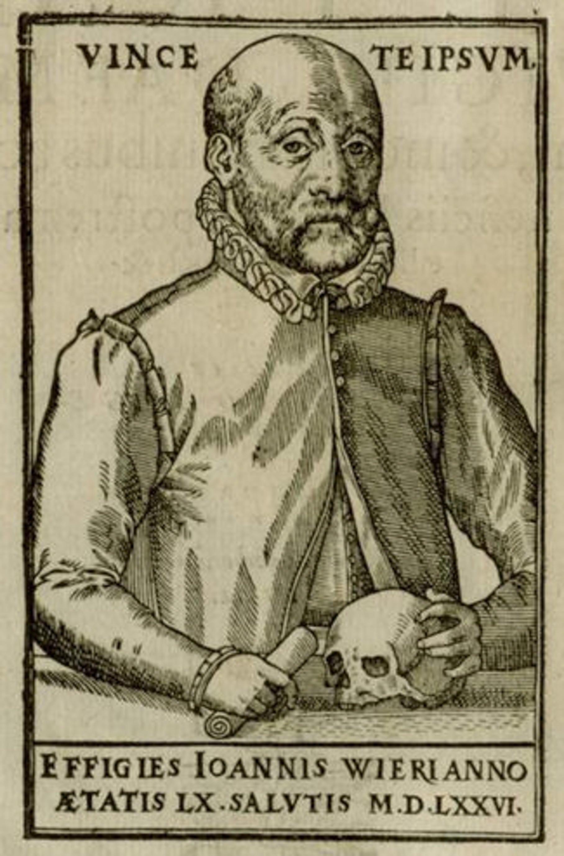 """Ảnh 1: Chân dung Johann Weyer được in khắc kẽm năm 1577. Minh họa được lấy từ cuốn sách """"De lamiis liber"""" của ông bàn luận về phù thủy và về lối nhịn ăn sai lạc. Nguồn: Spektrum."""