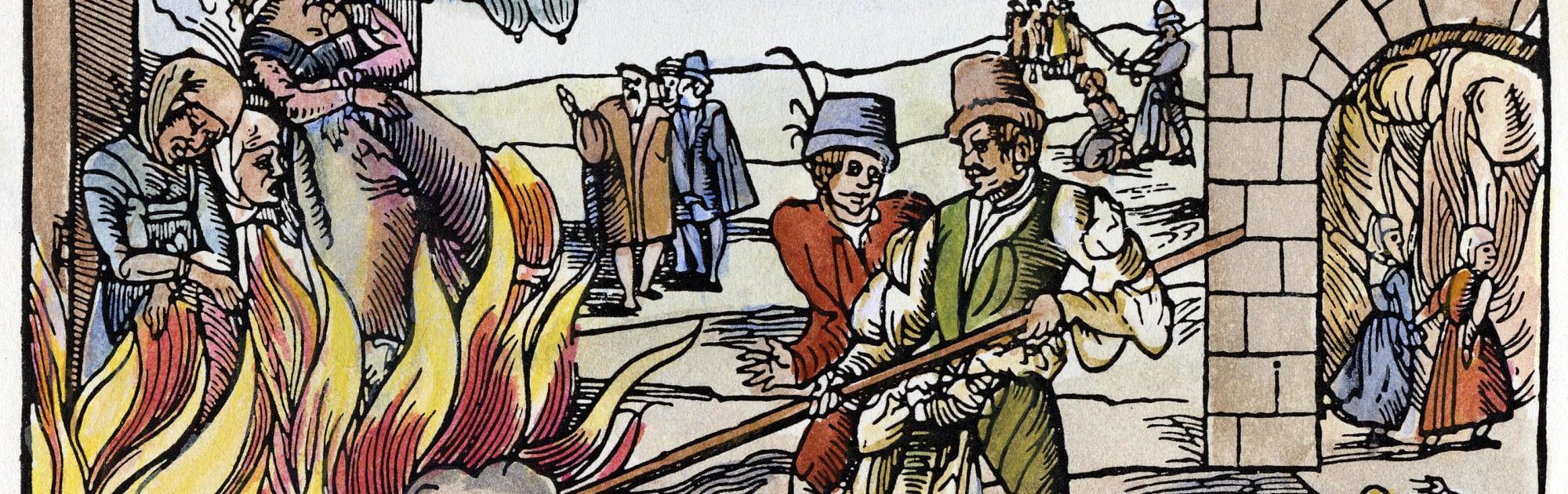 Hỏa thiêu phù thủy ở Derenburg, 1555. Nguồn: Spektrum.