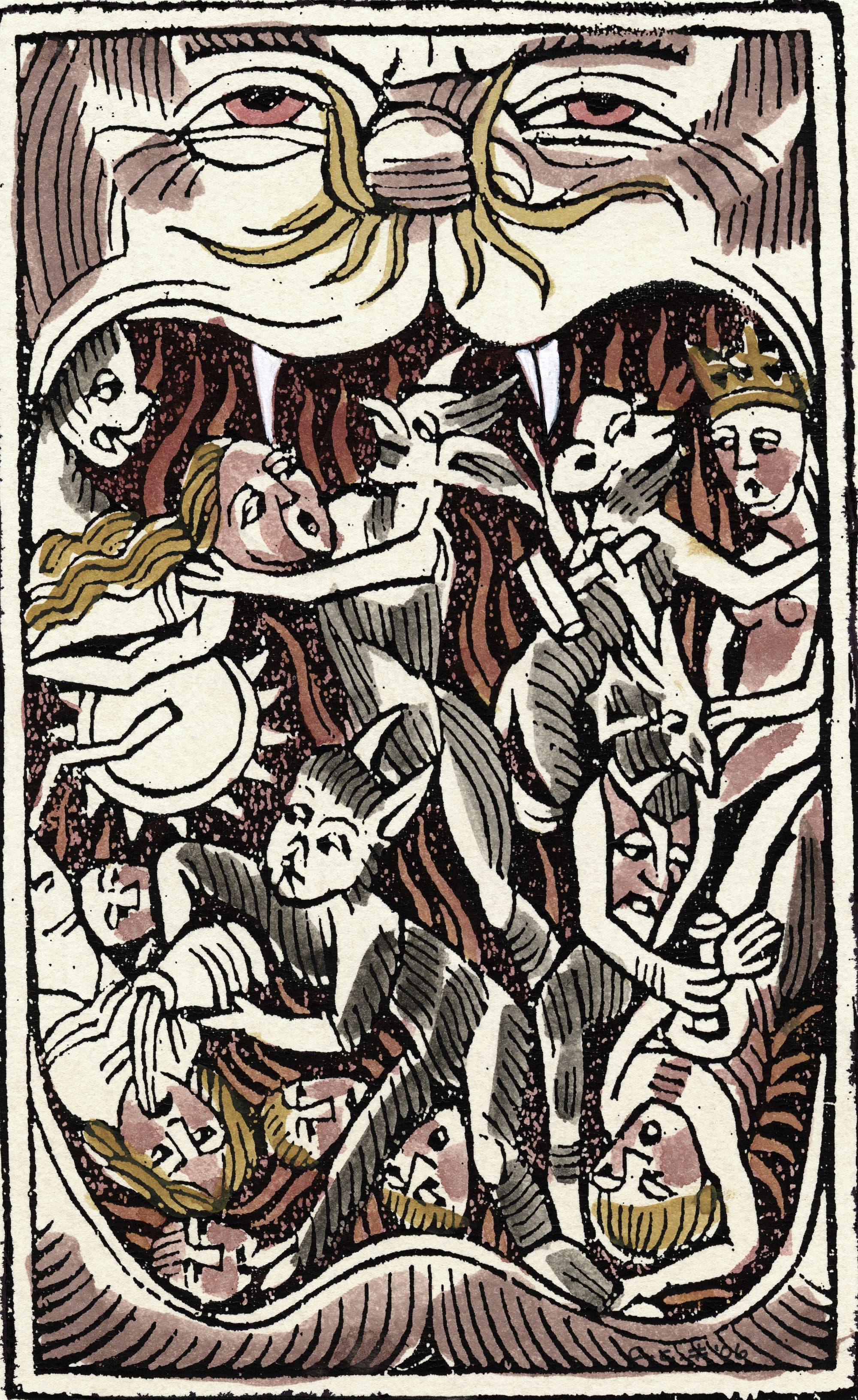 """Sự trừng phạt dưới Địa ngục theo hình dung của cuốn sách """"Cây búa phù thủy"""" của Heinrich Kramer. Trong trước tác độc địa của mình, vị tu sĩ này đã thổi phồng niềm tin và nỗi sợ hãi về giáo phái phù thủy. Bất cứ ai dám chống lại quan điểm của ông ta khi đó đều có thể bị dán mác dị giáo. Nguồn: Spektrum."""