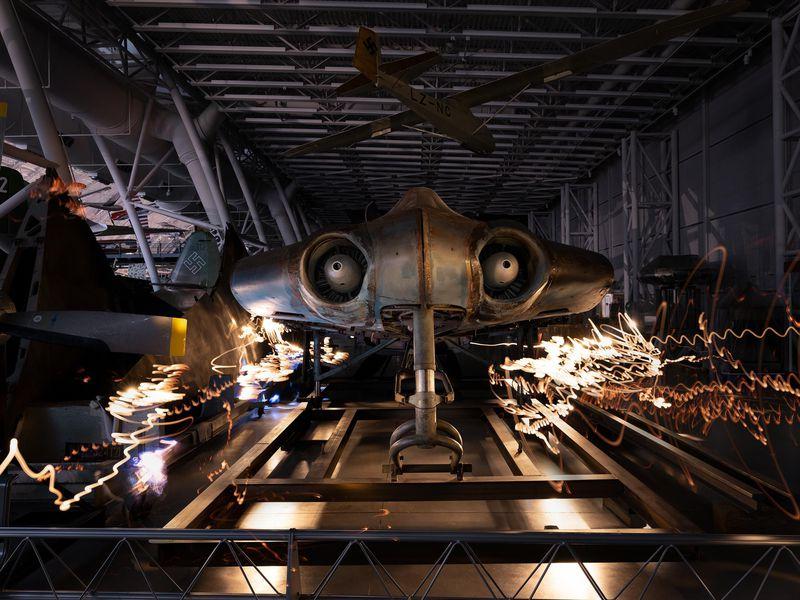 Chiếc Ho 229 V3 theo thiết kế của anh em nhà Horten được trưng bày bên cạnh một số mẫu bay khác của Đức Quốc xã tại Mỹ. Nguồn: Tobias Hutzler.