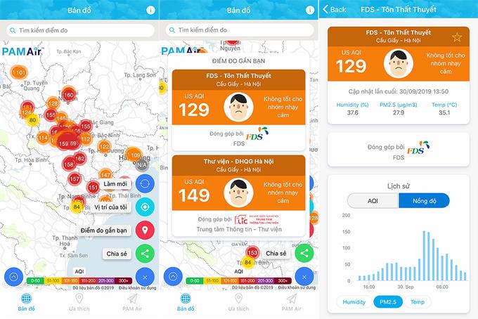 Chu trình vận hành theo thời gian thực của hệ thống PAM Air: Thiết bị cảm biến hút không khí vào buồng đo, buồng đo phân tích bằng công nghệ tán xạ ánh sáng và gửi dữ liệu đo theo thời gian thực (bằng 3G) về trung tâm dữ liệu. Tại đây hệ thống quản trị lọc các dữ liệu bất thường, tính toán và xử lý và tính ra AQI và các chỉ số liên quan. Người dùng có thể truy cập miễn phí các dữ liệu này thông qua trang web hoặc app PAM Air.
