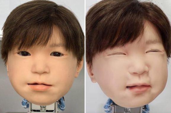Biểu cảm trên khuôn mặt robot Affetto. Ảnh: Đại học Osaka.