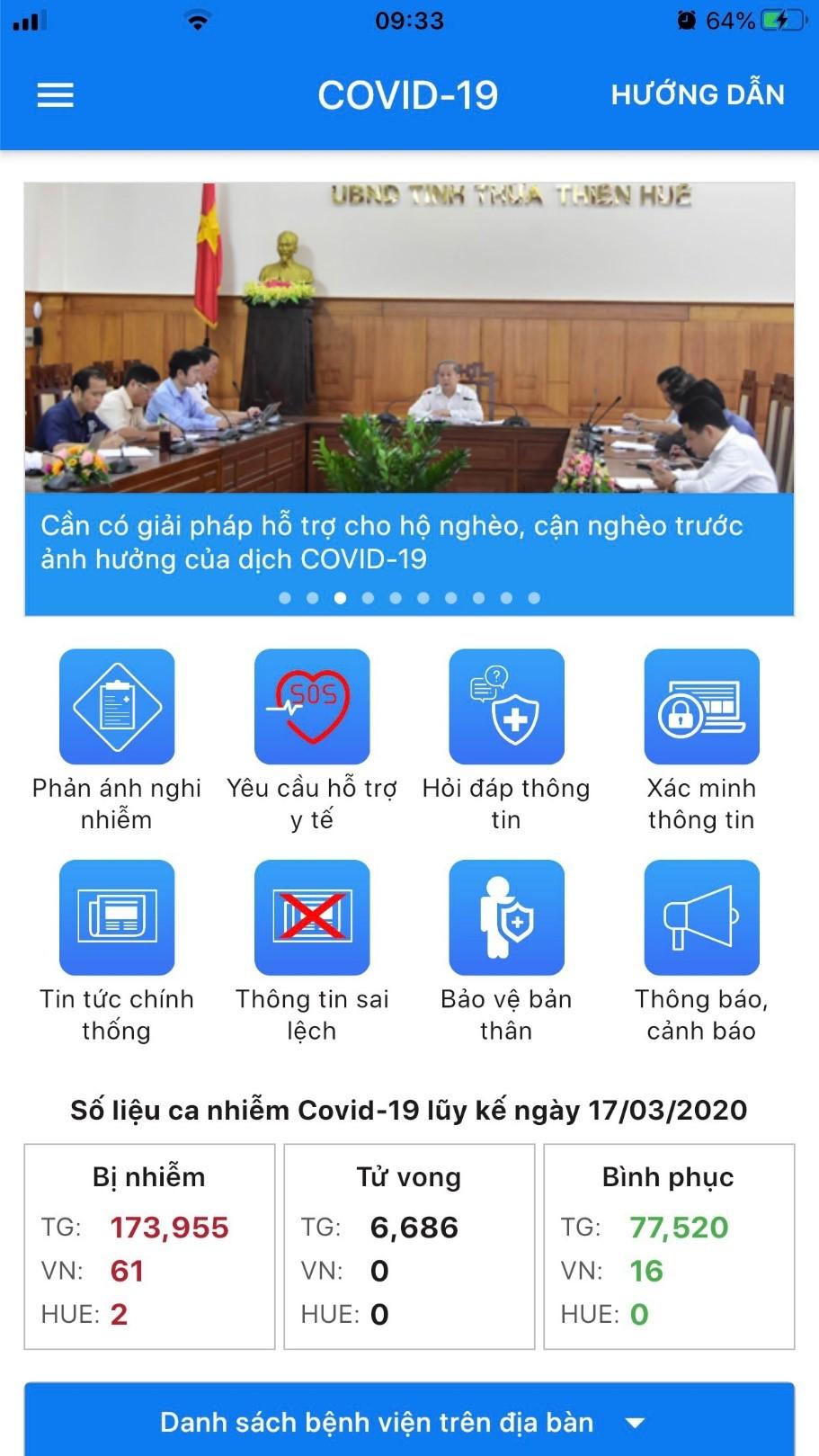 Giao diện ứng dụng COVID-19 của Huế