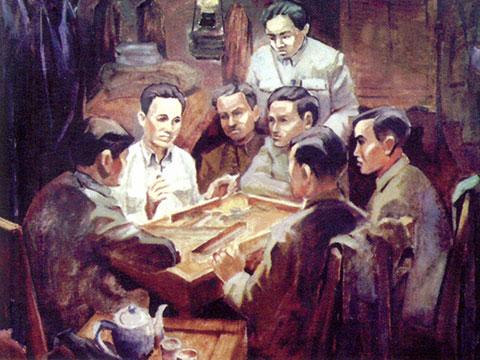 Đại hội đại biểu lần thứ nhất Đảng Cộng sản Đông Dương đã được tổ chức tại phố Quan Công, Macau, từ 27 đến 31/03/1935. Ký họa: baoapbac.vn.