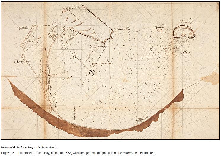 Hải đồ Table Bay thời điểm năm 1663, đánh dấu vị trí nơi con tàu Nieuwe Haerlem bị đắm. Ảnh: Văn khố Quốc gia, Hagel, Hà Lan.
