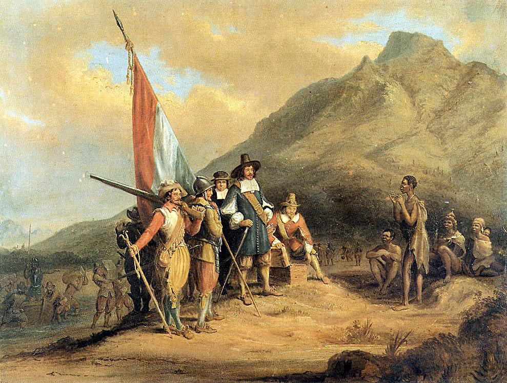 Tranh vẽ mô tả Jan van Riebeeck cùng người của mình đặt chân đến Table Bay. Ảnh: Charles Davidson Bell.