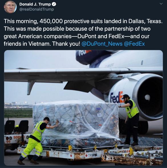 Lời cảm ơn của tổng thống Trump trên Twitter ngày 9.4.2020 | Ảnh chụp màn hình