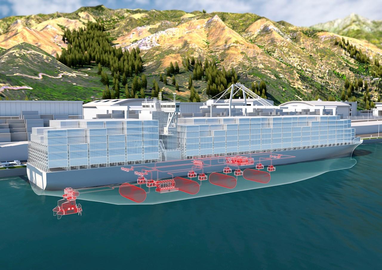 Các tàu container chạy bằng động cơ diesel đang đóng góp tới 2,5% lượng khí thải nhà kính của toàn thế giới. Vì thế, hệ thống truyền động chạy bằng hydrogen có thể sẽ mang lại sự khác biệt. Ảnh: ABB.
