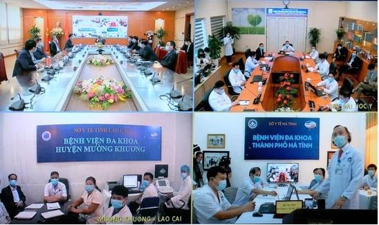 Khai trương hệ thống khám chữa bệnh từ xa ngày 18/4/2020. Trong ảnh là 4 điểm cầu kết nối: VP chính phủ, ĐH Y hà Nội, BV đa khoa huyện Mường Khương (Lào Cai) và BV đa khoa TP Hà Tĩnh