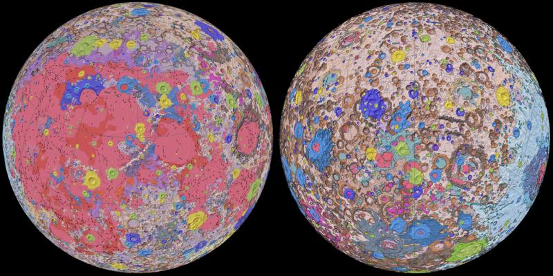 Bản đồ địa chất của Mặt trăng. Ảnh: USGS.