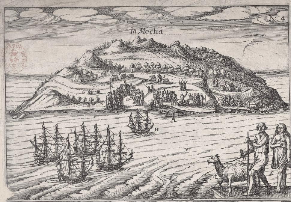 Hình vẽ khắc họa đảo Isla Mocha trong cuốn sách về chuyến phiêu lưu của chàng cướp biển Joris van Spilbergen người Hà Lan.