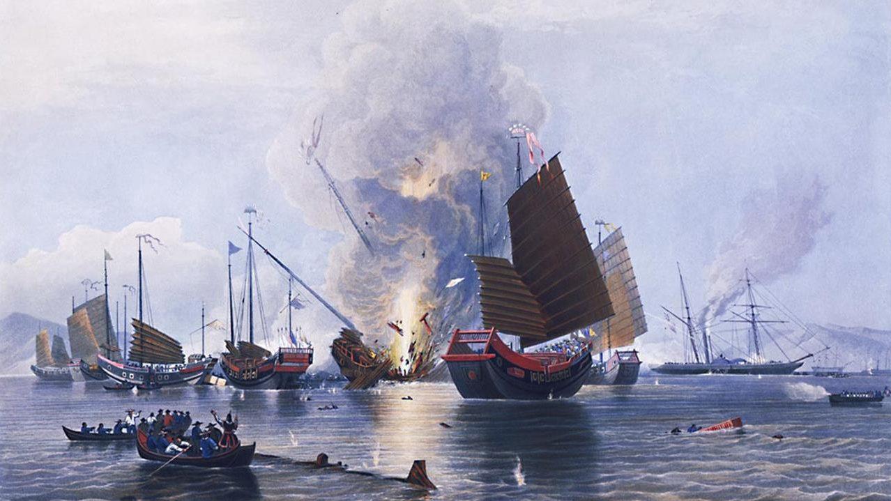Bức tranh mô tả cuộc chiến tranh nha phiến lần thứ nhất giữa Anh và Trung Quốc. Ảnh: Edward Duncan.