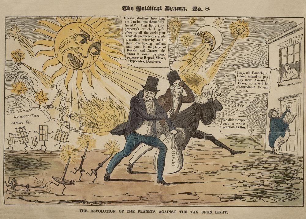 """""""Cuộc cách mạng chống lại đạo luật thuế ánh sáng được áp đặt trên khắp hành tinh"""", tranh châm biếm sau khi thuế cửa sổ ra đời năm 1696."""