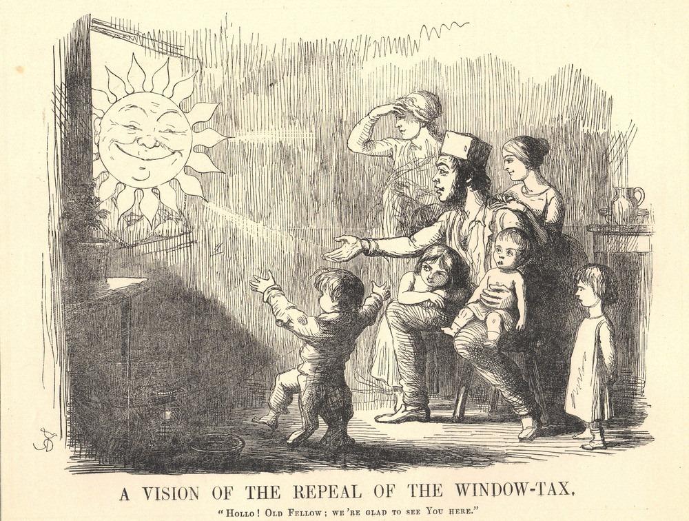 Một gia đình hướng tầm mắt ra ngoài trời để ngắm Mặt trời rõ hơn khi thuế cửa sổ bị bãi bỏ, tranh phiếm họa của Richard Doyle (năm 1754).