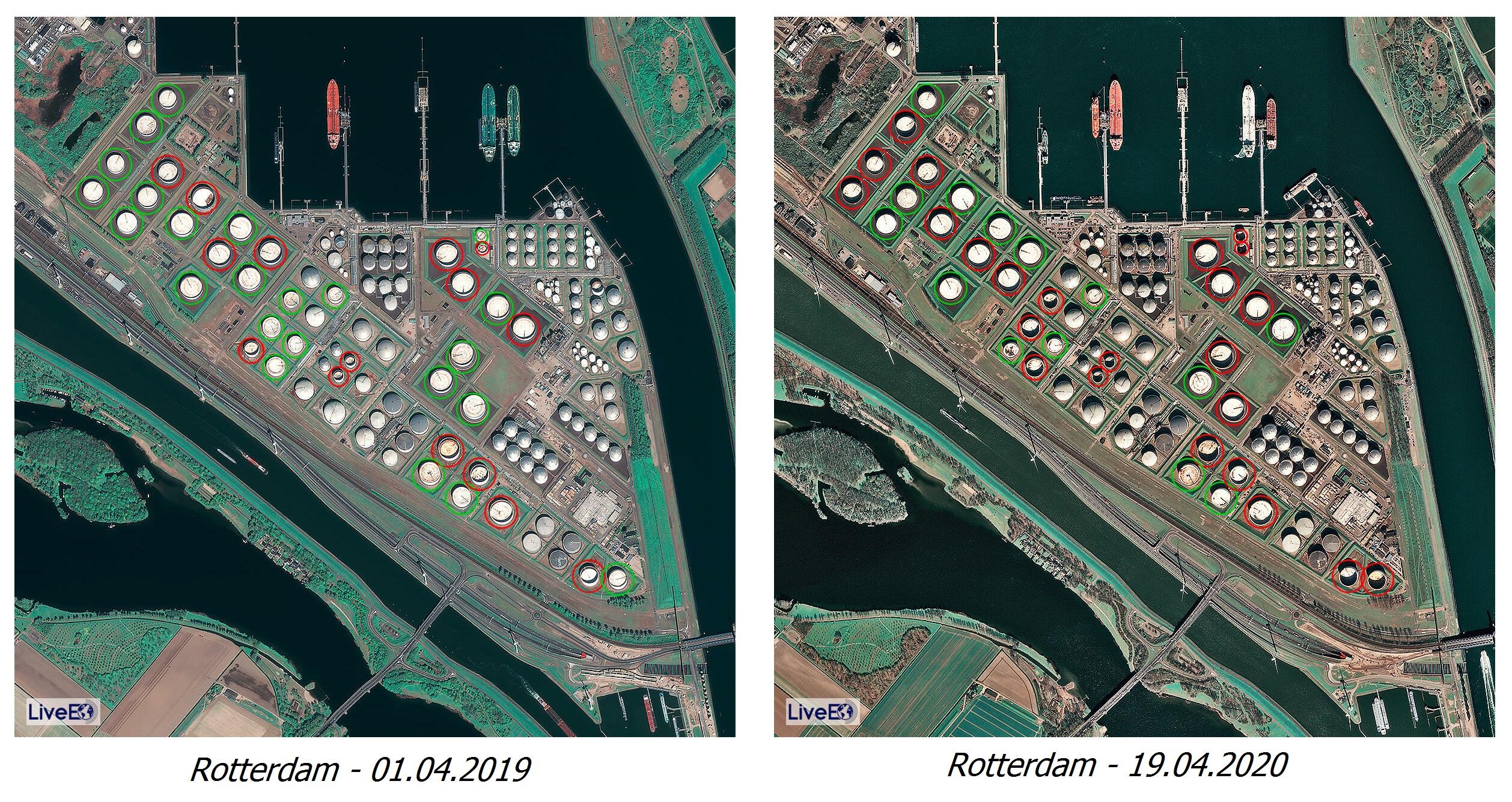 Ảnh vệ tinh chụp cảng Rotterdam với 38 bể dầu Silo tại hai thời điểm trước và trong dịch Covid-19. Bể khoanh màu đỏ là những bể còn sức chứa, trong khi đó bể khoanh màu xanh là các bể đã đầy. | Nguồn: LiveEO/UP42