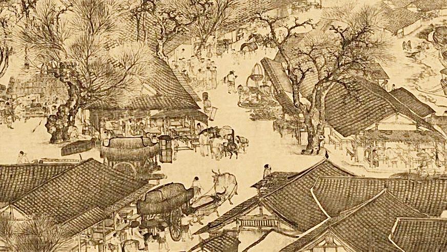 """Các nhà hàng tại cố đô Khai Phong của Trung Quốc trong bức tranh """"Đi ngược dòng sông trong lễ hội Thanh Minh"""" do Zhang Zeduan vẽ năm 1100. Ảnh: Werner Forman."""