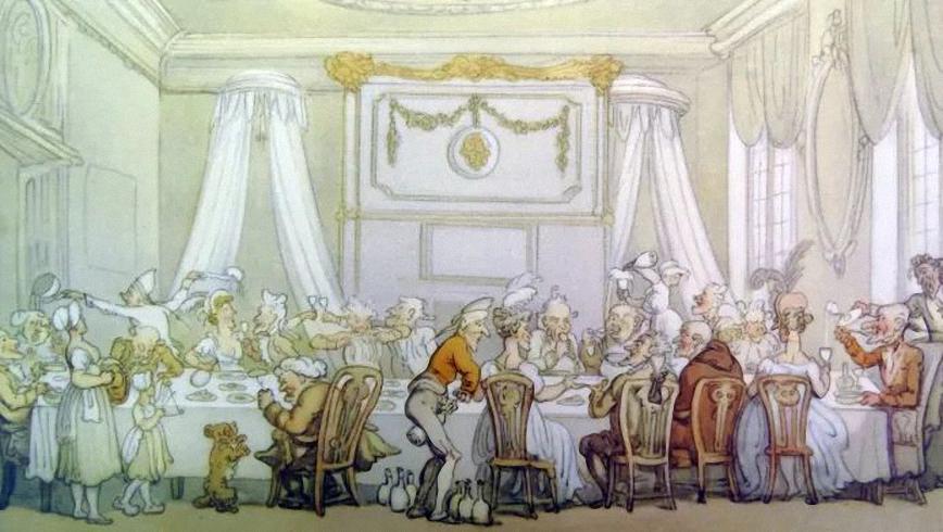 Bức tranh mô tả bàn ăn d'hôte tại Paris, Pháp. Ảnh: Getty Images.