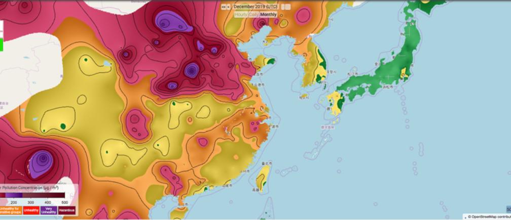 Bất bình đẳng về ô nhiễm không khí giữa các quốc gia. Trong ảnh là biểu đồ ô nhiễm Pm2.5 ở Bangladesh & Đông Á vào năm 2019. Nguồn: Berkeley Earth