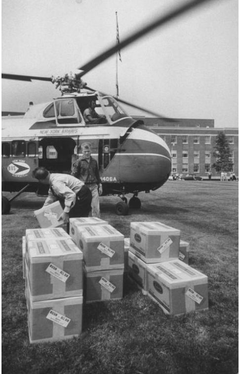 Năm 1957, một đại dịch cúm đã xảy ra ở Hoa Kỳ, nhưng Maurice Hilleman đã sẵn sàng chuẩn bị với một loại vaccine mà ông sản xuất hàng loạt chỉ trong vài tháng. Các hộp đựng vaccine do Hilleman nghiên cứu phát triển được chuyển đi bằng trực thăng nhanh chóng khắp nước Hoa Kỳ để phòng cúm năm 1957.