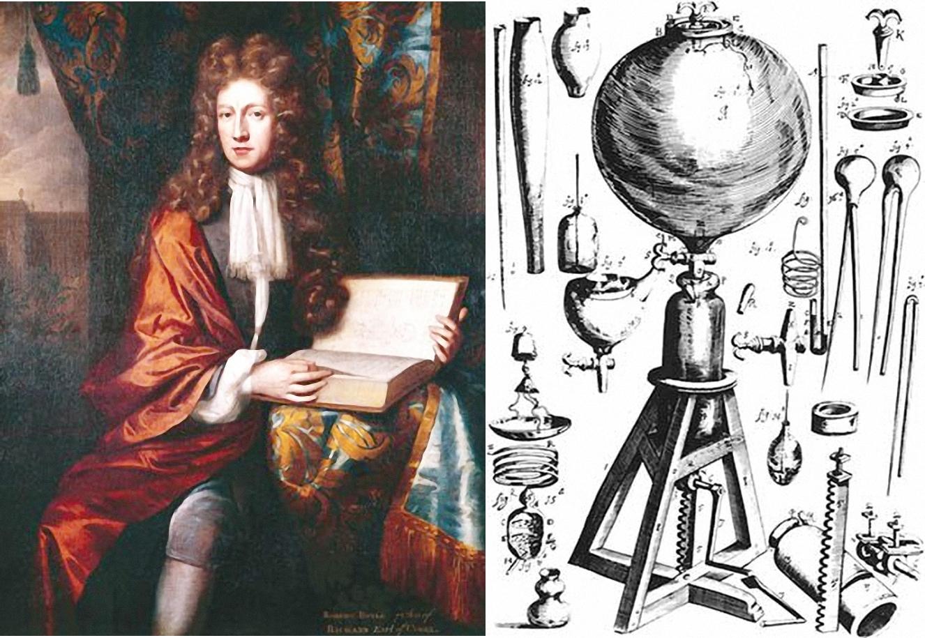 """Robert Boyle và """"bơm chân không"""" do ông chế tạo. Ảnh: Nature."""