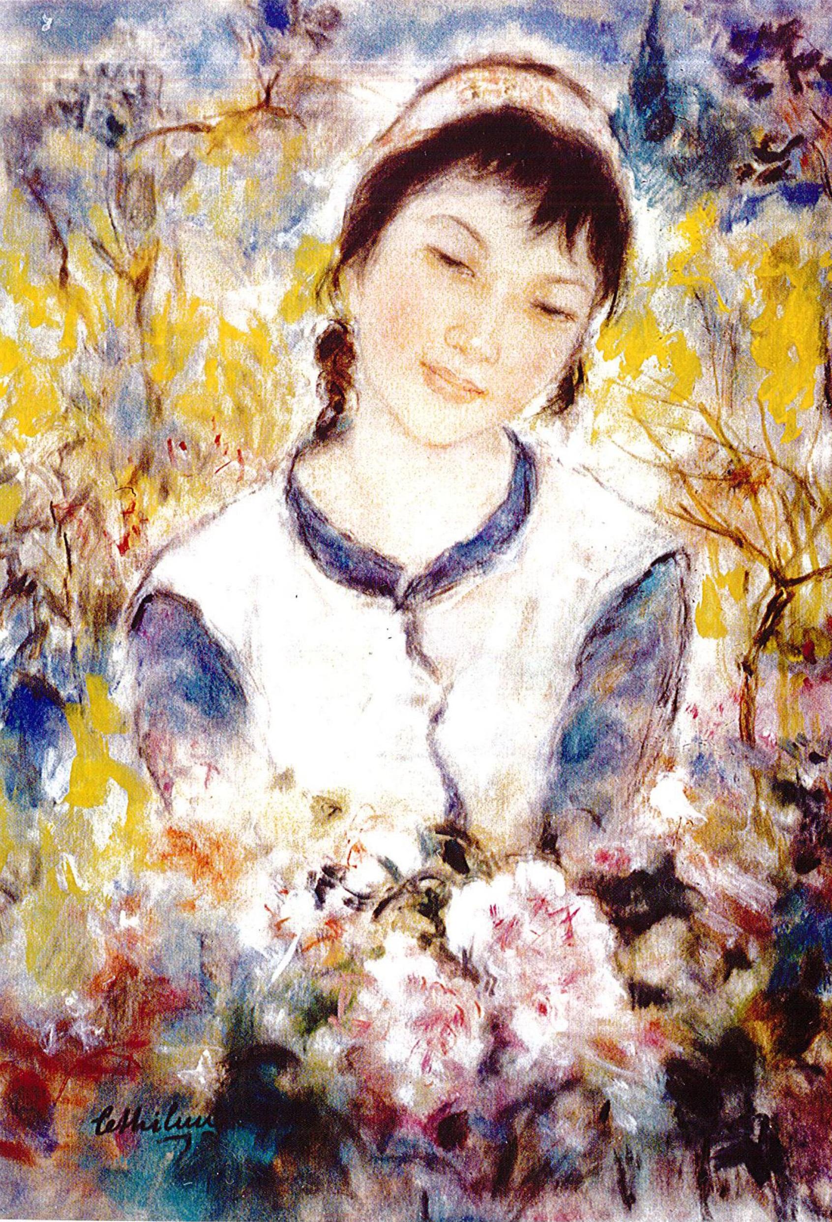 Lê Thị Lựu - Sơn nữ, tranh lụa, 41x33cm, khoảng 1980. Nguồn: Lê Thị Lựu - Ấn tượng hoàng hôn