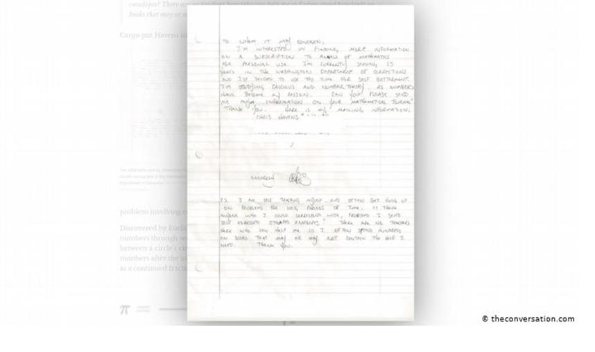 Những con số đã trở thành sứ mệnh của tôi' - Havens đã viết bức thư này cho một nhà xuất bản toán học.