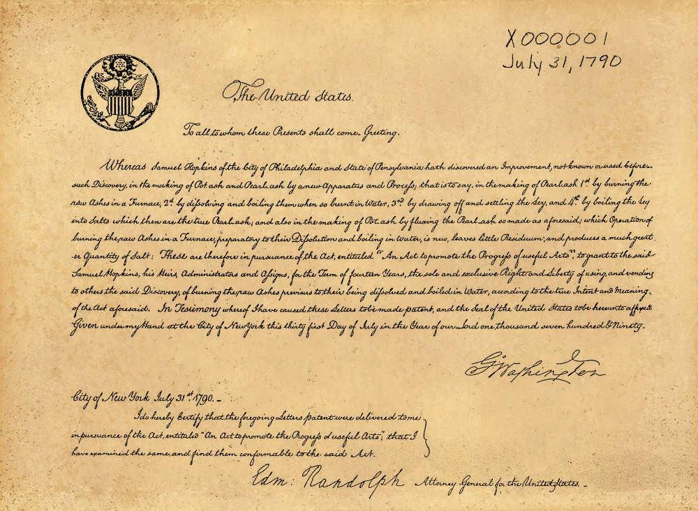 Patent đầu tiên do Cục sáng chế và nhãn hiệu Hoa Kỳ cấp ngày 31/07/1790, cho phương pháp cải tiến của Samuel Hopkins. Ảnh: Wikimedia.