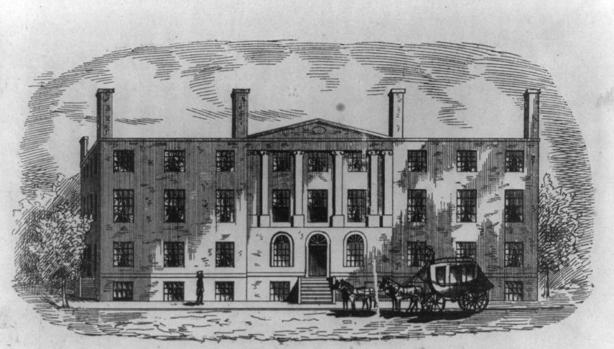 Tòa nhà khách sạn Blodget là nơi đặt trụ sở của Cục sáng chế và nhãn hiệu Hoa Kỳ đến năm 1836, trước trận hỏa hoạn tàn khốc. Ảnh: Wikimedia.