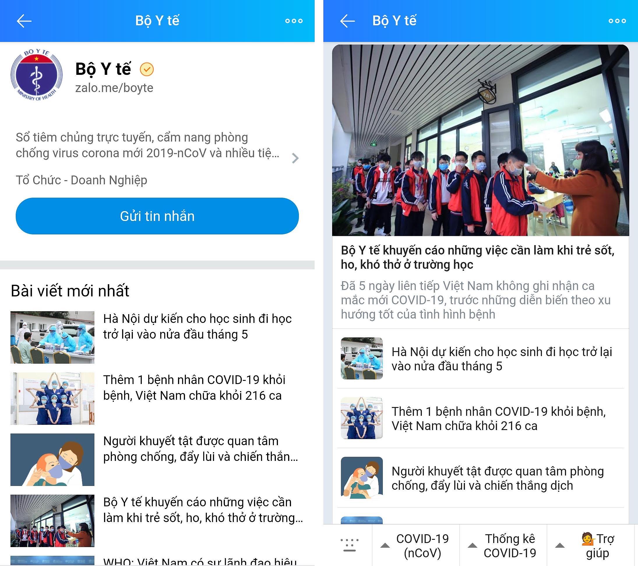 Chatbot được tích hợp trên trang Zalo chính thức (OA) của Bộ Y tế. Ảnh: VGP/Hiền Minh