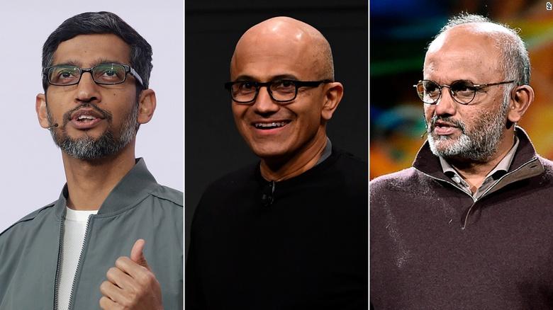 Nhiều CEO công nghệ nổi tiếng thế giới là sản phẩm của nền giáo dục Ấn Độ. Từ trái qua phải: Sundar Pichai (CEO Alphabet), Satya Narayana Nadella (CEO Microsoft) và Shantanu Narayen (CEO Adobe). Ảnh: AP.
