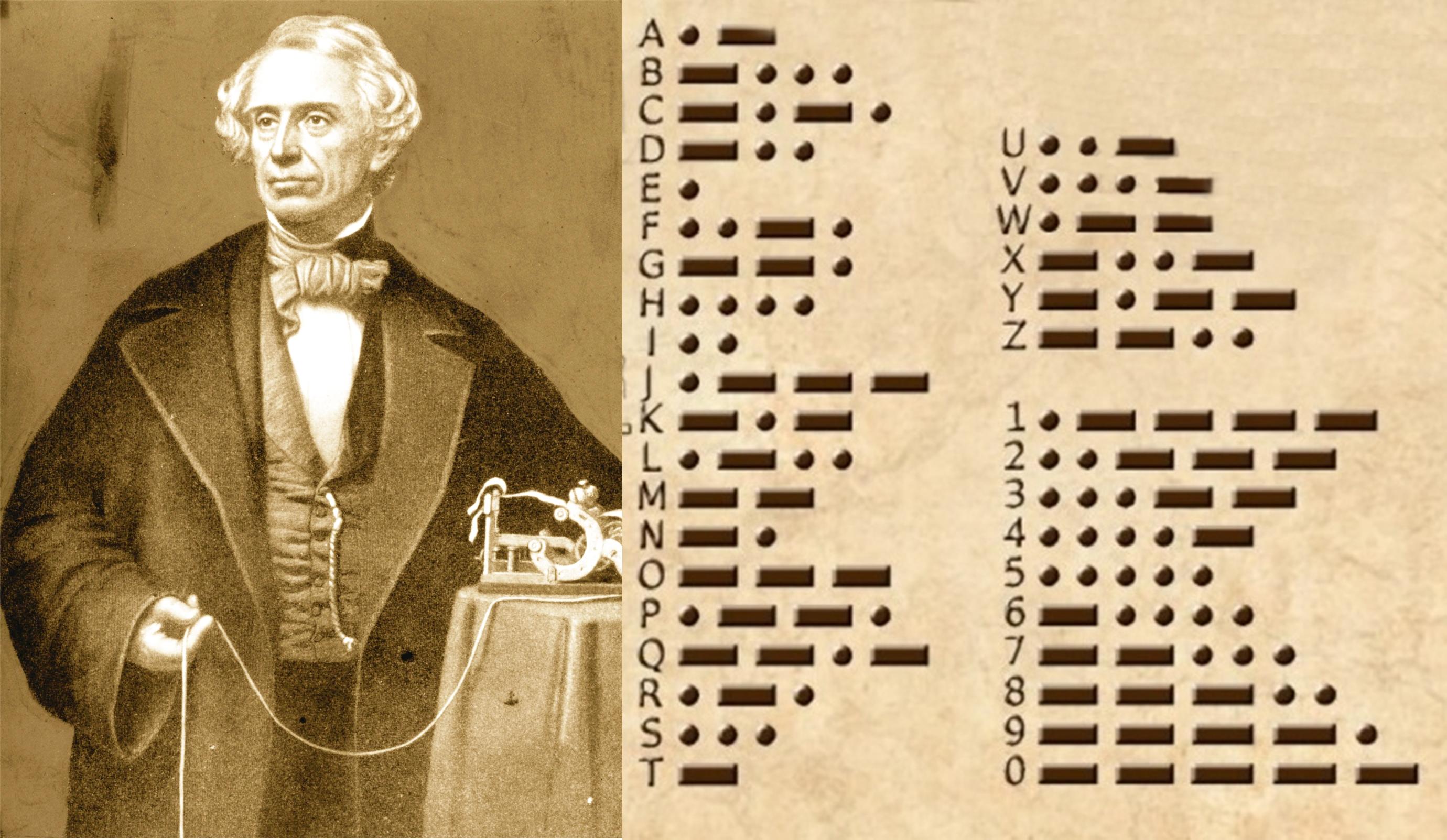 Breese Morse và bảng mã Morse do ông phát triển. Ảnh: History.