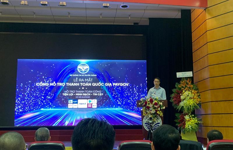 Tổng giám đốc NAPAS Nguyễn Quang Hưng phát biểu tại lễ ra mắt. Ảnh: VN