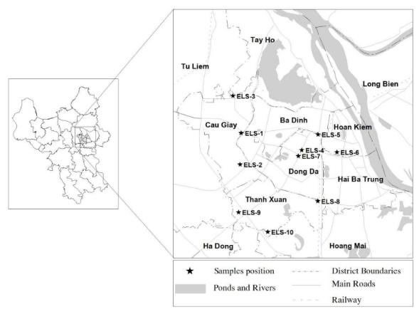 Bản đồ Hà Nội và vị trí các trường tiểu học (ELS, đánh dấu *) trong nghiên cứu | Nguồn: VNU