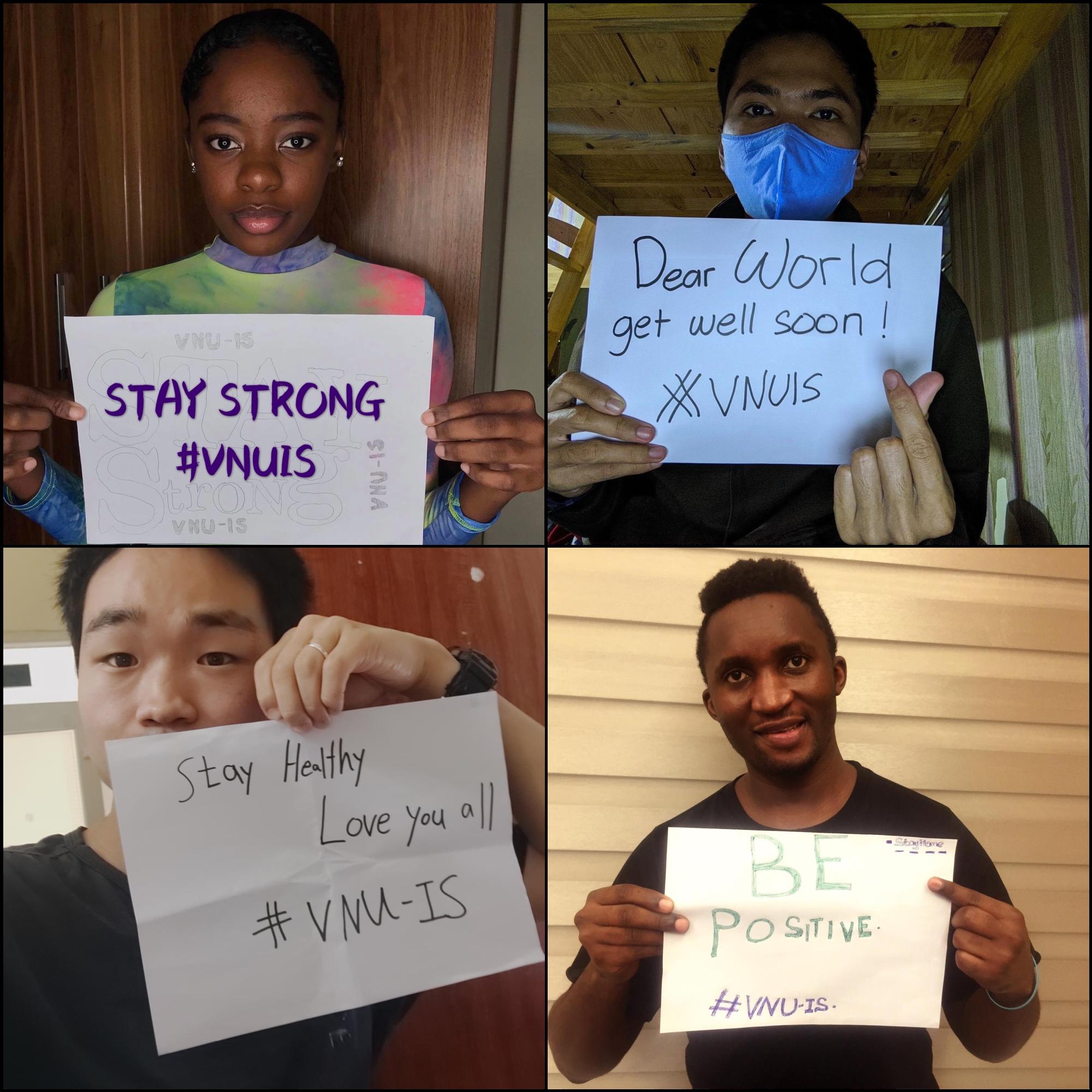 Sinh viên quốc tế lan toả thông điệp tích cực trong những ngày cách ly | Ảnh: VNU-IS