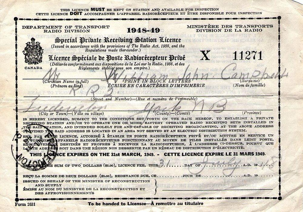 Giấy phép trạm thu sóng radio tại Canada, phát hành ngày 31/07/1948. Ảnh: Wikimedia Commons.
