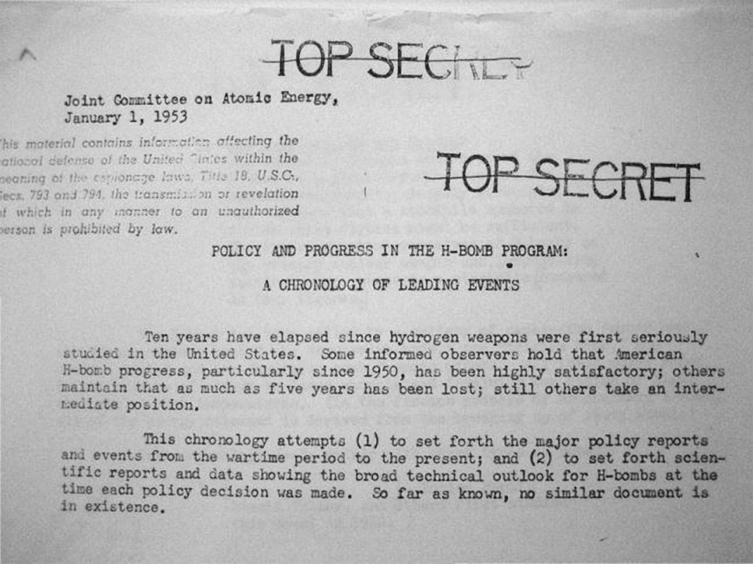 Tài liệu mật về bom H của Chính phủ Mỹ. Ảnh: NARA.