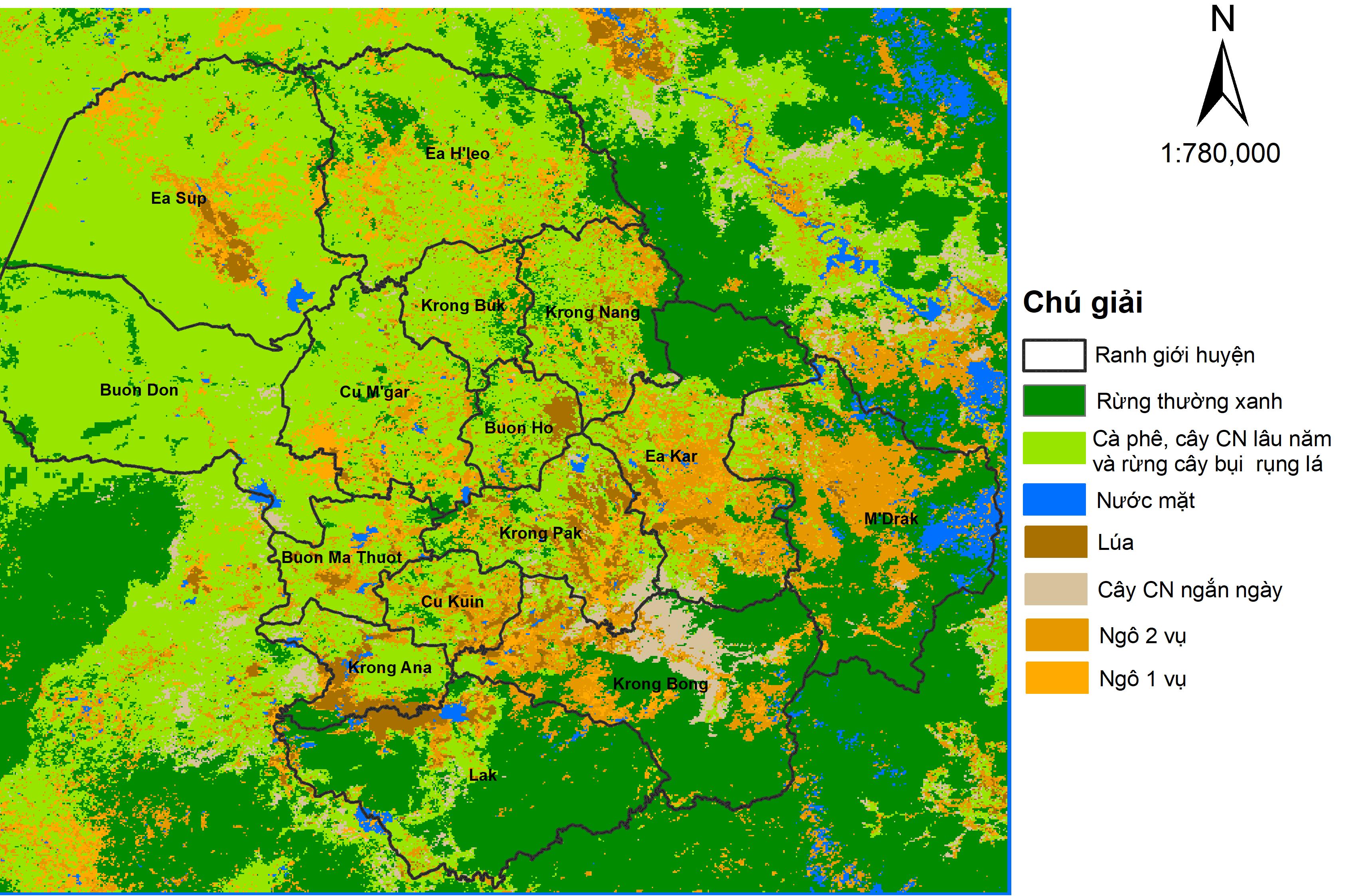 Hiện trạng phân bố vùng trồng ngô và một số cây trồng khác tại Đắk Lắk năm 2019 dựa trên dữ liệu ảnh vệ tinh. Nguồn: nhóm nghiên cứu cung cấp